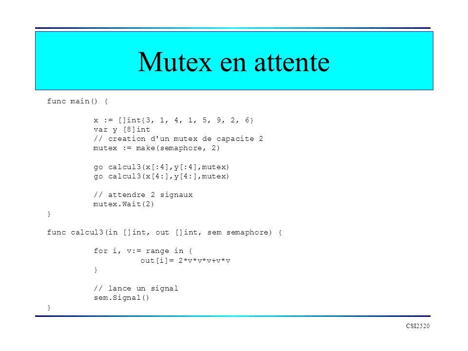 Mutex en attente func main() { x := []int{3, 1, 4, 1, 5, 9, 2, 6}